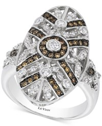 Le Vian Chocolatier Chocolate Deco Estate Diamond 3 4 Ct. T.W. Ring In 14K White Gold