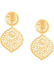 Kenneth Jay Lane Filigree Drop Clip Earrings Gold