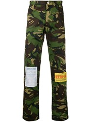 Martine Rose Patchwork Camouflage Trousers Green