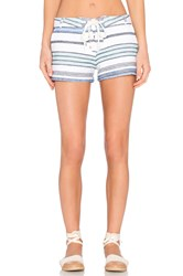 Monrow Burlap Stripe Lace Up Short White
