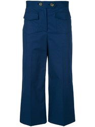 Red Valentino Cropped Wide Leg Trousers Blue