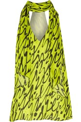 Milly Graffiti Draped Printed Silk Chiffon Top Chartreuse