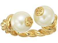 Tory Burch Rope Logo Bead Ring Ivory Gold Ring