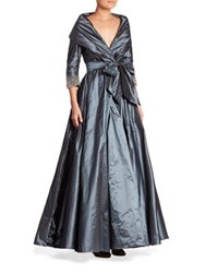 Catherine Regehr Classic Shawl Collar Silk Gown Slate Blue