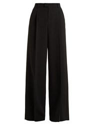 Red Valentino Wide Leg High Rise Crepe Trousers Black
