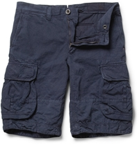 Incotex Cotton And Linen Blend Cargo Shorts Blue
