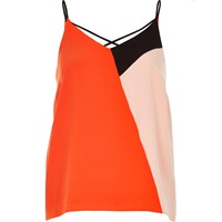 River Island Womens Red Color Block Cami Top