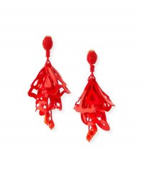Oscar De La Renta Large Lace Impatiens Flower Drop Earrings Red