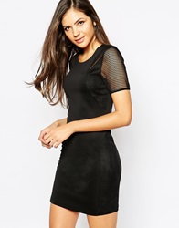 Y.A.S Bodycon Dress With Sheer Inserts Black