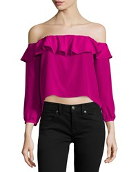Amanda Uprichard Joanna Ruffled Silk Crop Top Magenta Pink