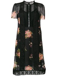 Coach Floral Buttoned Dress Nylon Polyester Cupro Black