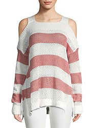 Saks Fifth Avenue Red Cold Shoulder Cotton Sweater Salmon White
