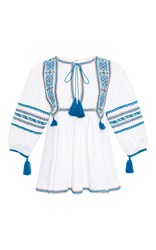 Talitha Anya Embroidered Indian Peasant Top White