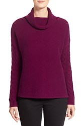 Women's Nordstrom Collection Funnel Neck Wool And Cashmere Sweater Purple Dark