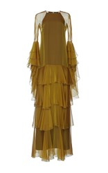 Andrew Gn Drop Waist Tiered Gown Gold