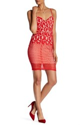 Just Me Sheer Lace Sweetheart Dress Red