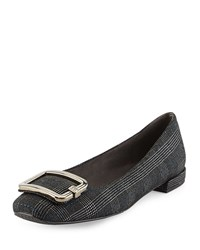 Stuart Weitzman Squared Plaid Buckle Flat Pewter Silver Women's Size 40B 10B