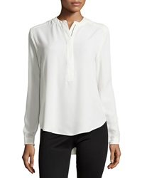 Neiman Marcus Half Zip Long Sleeve Blouse Ivory