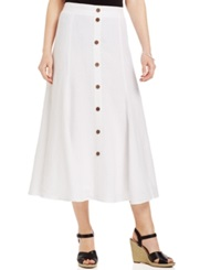 Jm Collection Button Front Linen A Line Skirt Bright White
