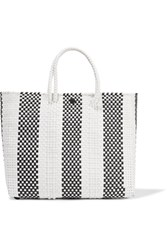 Truss Striped Small Leather Trimmed Woven Raffia Effect Tote White
