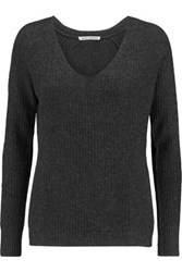 Autumn Cashmere Ribbed Sweater Dark Gray