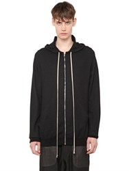 Rick Owens Hooded Zip Up Cashmere Cardigan