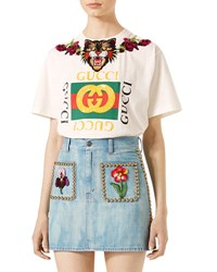 Gucci Crystal Embroidered Cotton T Shirt White