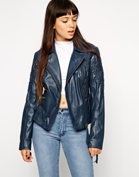 Asos Leather Jacket With Embossed Paisley Print Navy
