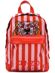 Kenzo Striped Tiger Backpack Red