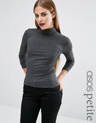 Asos Petite Polo Neck With Long Sleeves Charcoal Grey