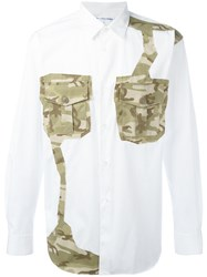 Comme Des Garcons Shirt Camouflage Patch Shirt White