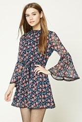Forever 21 Floral Print Peasant Dress Navy Coral