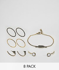 Asos Design Pack Of 8 Engraved Stone And Feather Bracelets And Rings Burnished Gold