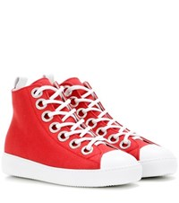 N 21 Embellished High Top Sneakers Red