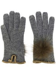 Loro Piana Furry Pompom Knitted Gloves Women Leather Cashmere S Grey