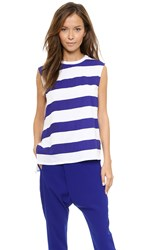 Camilla And Marc Combat Stripe Tee White Royal Blue
