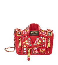 Moschino Embroidered Leather Jacket Shoulder Bag Female