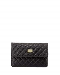 St. John Quilted Leather Fold Over Clutch Bag Black Gold