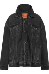 Vetements Levi's Oversized Hooded Denim And Cotton Jersey Jacket Charcoal