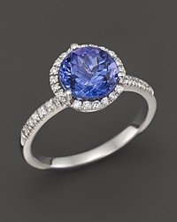 Bloomingdale's Tanzanite And Diamond Halo Ring In 14K White Gold Blue White