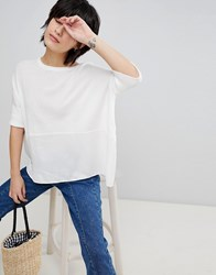 Paisie Knitted Top With Silk Panel White