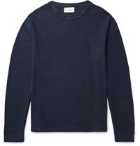 Oliver Spencer Berwick Textured Cotton Jersey T Shirt Midnight Blue