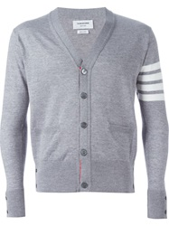 Thom Browne Striped Sleeve Cardigan Grey