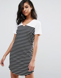 Vila Striped T Shirt Dress Snow White Black