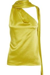 Brandon Maxwell Woman One Shoulder Draped Hammered Silk Satin Blouse Lime Green