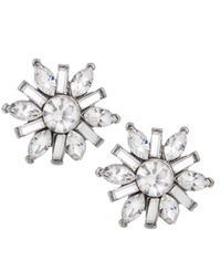 Carolee Earrings Silver Tone Small Button Snowflake Earrings