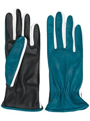 Sportmax Two Faced Leather Gloves Blue
