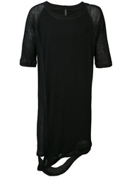 Barbara I Gongini Elongated Split T Shirt Men Lyocell Wool Xs Black