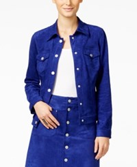 Inc International Concepts Faux Suede Button Down Jacket Only At Macy's Blooming Blue