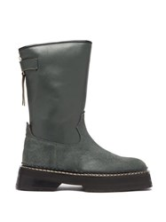 Eytys Tucson Square Toe Leather And Suede Boots Dark Green